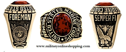 marine corps ring with red stone